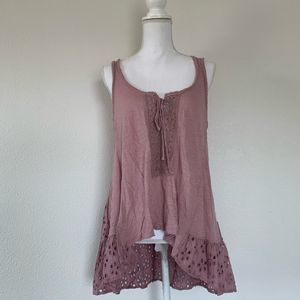 Free People Eyelet Tank Top Tunic S Mauve lace up